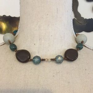 Jewelry - Vintage glass and agate choker style necklace
